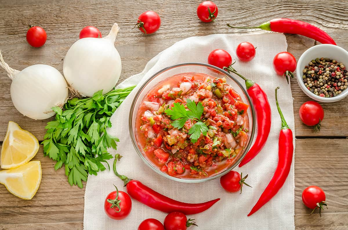 Mexican sauce salsa with ingredients