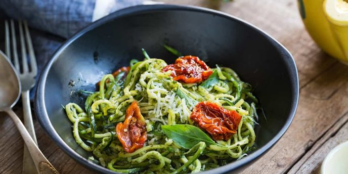 Zucchini Pasta in Pesto sauce with Sun dried Tomato