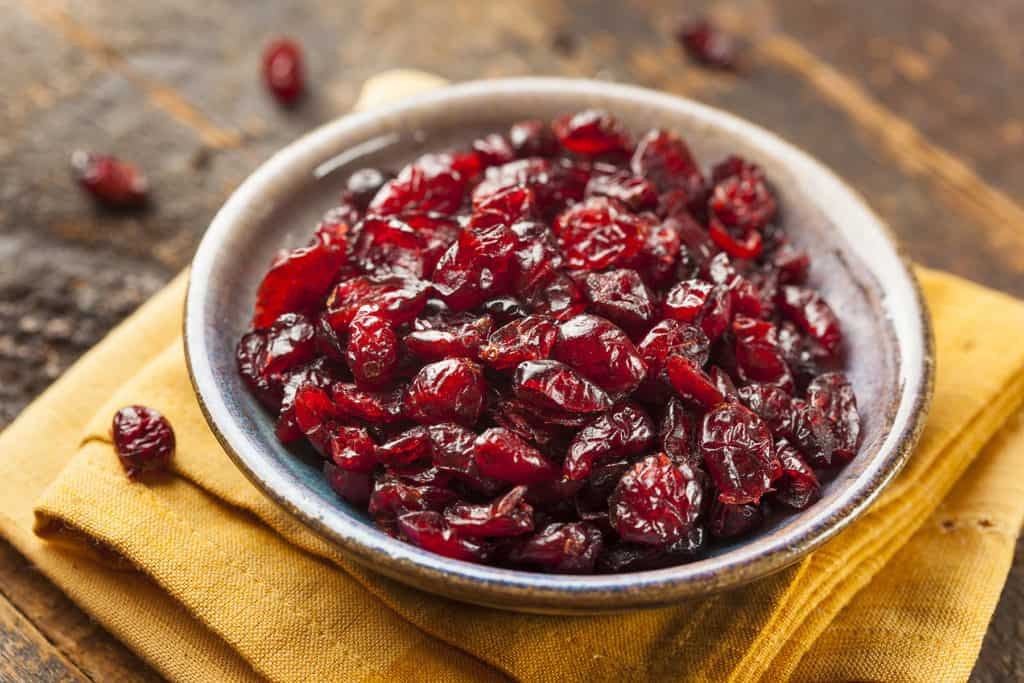 Organic Red Dried Cranberries in a Bowl