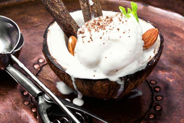 Coconut ice cream with almonds
