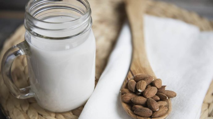 Jug of Almond Milk and Almonds