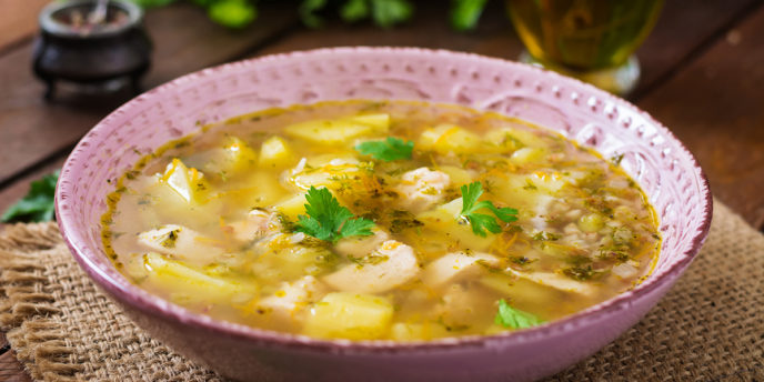 Chicken soup with potatoes and buckwheat