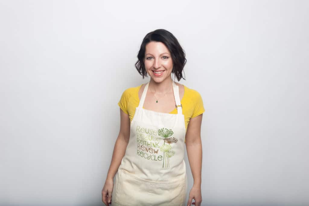 jennifer fugo wearing apron