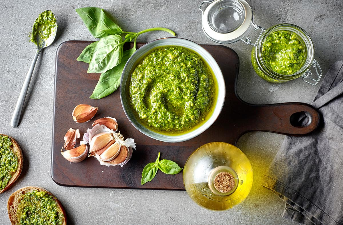 bowl of basil pesto