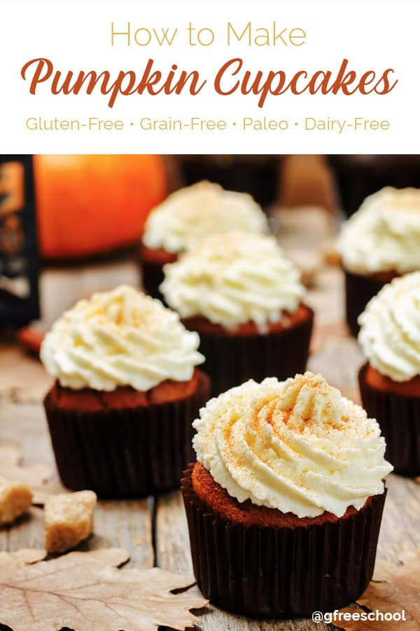 Flourless Spiced Pumpkin Cupcakes with Coconut Whipped Frosting (Paleo)