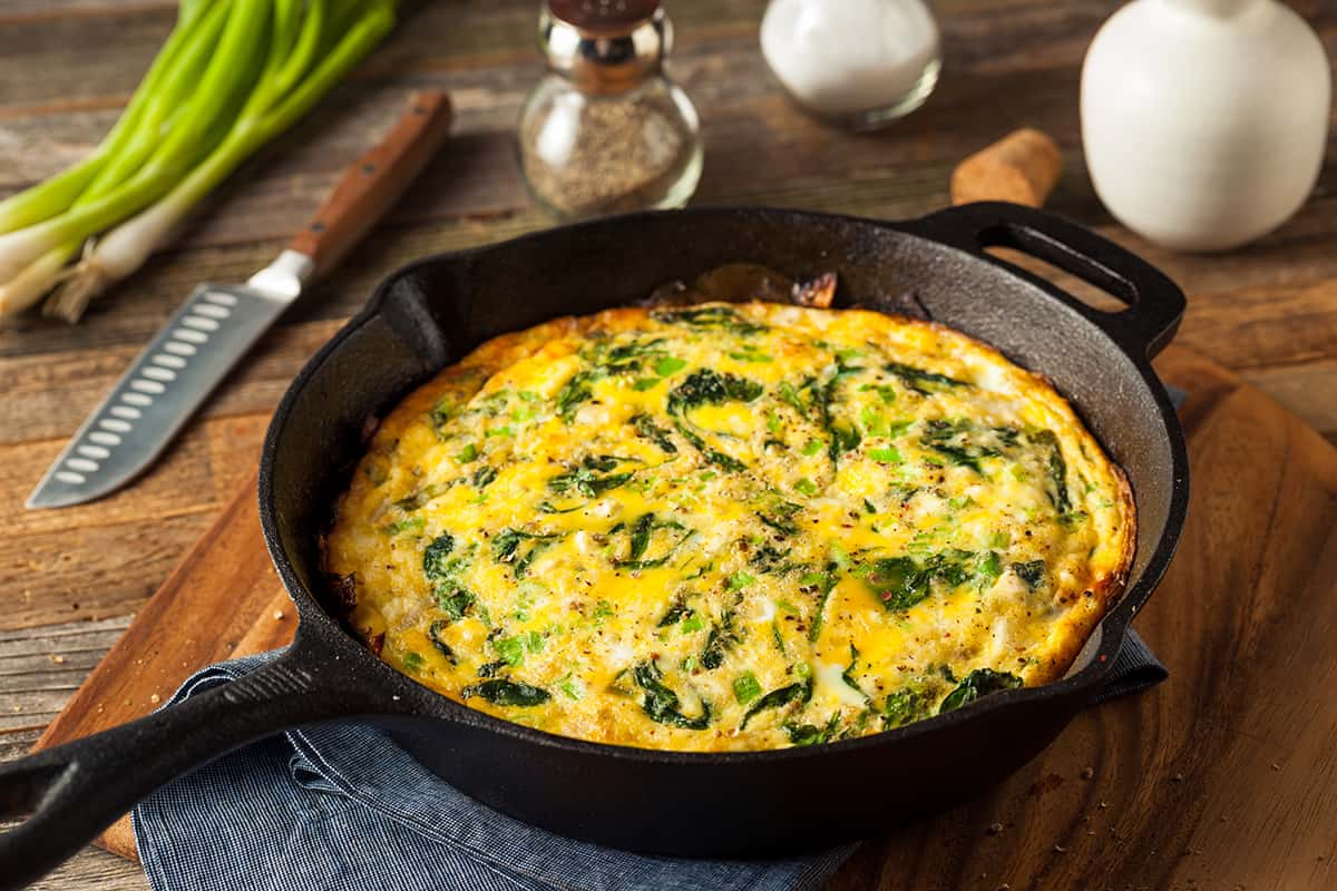 Homemade Spinach and Feta Fritatta