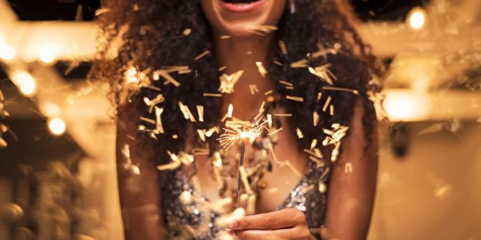 Woman Celebrating New Years Eve Resolutions