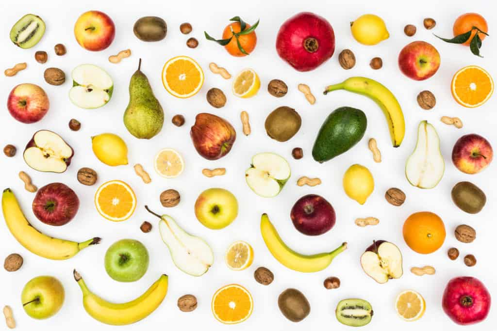 Tasty colorful fruit on white background, seamless food background