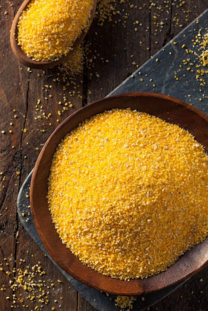 Raw Organic Polenta Corn Meal in a Bowl
