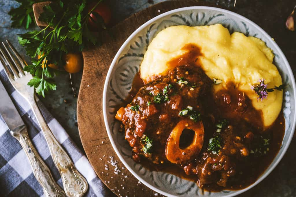 Osso bucco Beef Stew with Polenta