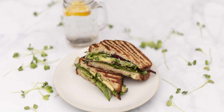 grilled vegetarian sandwich on white plate and marble table with glass of water and lemon slice